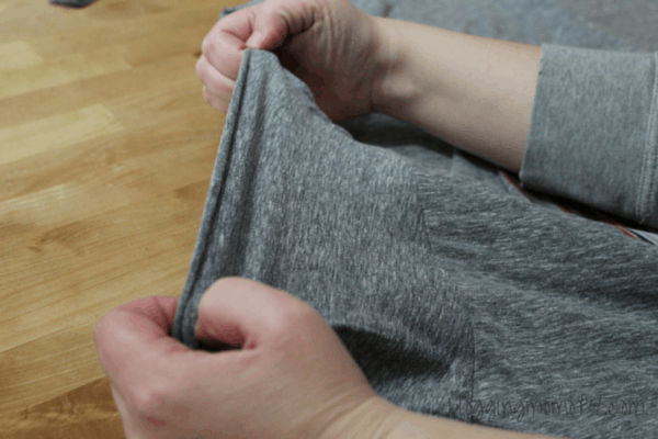 I don't like getting out the sewing machine unless I'm making something from scratch so anything that is no sew is preferable. This DIY Crew Neck to V Neck is very easy and can be finished very quickly.