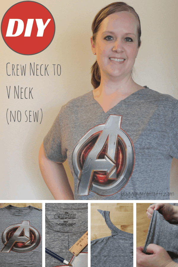 DIY Crew Neck to V Neck (no sew)