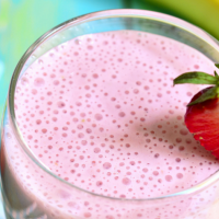 This particular one, the Strawberry Banana Protein Shake Recipe, is one of my favorites. You can make it thick and eat it with a spoon or a bit thinner. Either way, it tastes fantastic.