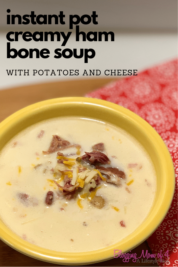 This instant pot creamy ham bone soup is so easy to make and delicious. It's hearty and can be customized to your family.